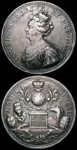 London Coins : A164 : Lot 644 : Act of Union 1707 47mm diameter in silver by J.Croker, Eimer 424 Obverse: Bust left crowned and drap...