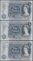 London Coins : A165 : Lot 104 : Five Pounds Page QE2 & seated child Britannia B324 issues 1971 (3) a consecutive trio LAST serie...