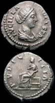 London Coins : A165 : Lot 2038 : Roman Denarii (2) Lucilla (161-169AD) Obverse: Draped Bust right LVCILLA AVGVSTA, Reverse: Pudicitia...