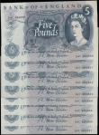 London Coins : A165 : Lot 216 : Five Pounds Fforde B314 (8) a consecutive number run 54C 895680 to 54C 895687 AU - UNC