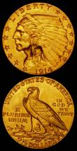 London Coins : A165 : Lot 2298 : USA 2 1/2 Dollars Gold (2) 1914D Breen 6338 EF, 1915 Breen 6339 NEF
