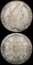 London Coins : A165 : Lot 2547 : Crowns (2) 1664 XVI edge ESC 28, Bull 362 VG or slightly better with some nicks around the rims, 170...