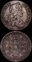 London Coins : A165 : Lot 2549 : Crowns (2) 1671 Second Bust, No Stop after HIB, ESC 43, Bull 386 Fine, 1676 ESC 51, Bull 397 Near Fi...