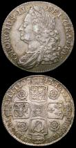 London Coins : A165 : Lot 2882 : Shillings (2) 1743 Roses ESC 1203, Bull 1720 VF the reverse colourfully toned, 1745 LIMA ESC 1205, B...