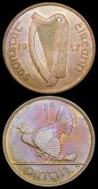London Coins : A165 : Lot 3694 : Ireland Pennies (3) 1937 S.6630 UNC with an attractive and colourful tone, 1943 S.6643 UNC or near s...