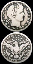London Coins : A165 : Lot 3803 : USA (2) Quarter Dollar 1914S Breen 4216 VG, scarce, 5 Cents 1883 with CENTS Breen 2535 GVF