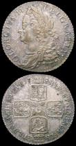 London Coins : A165 : Lot 3938 : Shilling 1758 ESC 1213, Bull 1735 EF and attractively toned, Sixpence 1757 ESC 1623, Bull 1764 EF th...