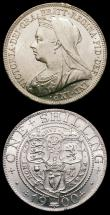 London Coins : A165 : Lot 3956 : Shillings (2) 1900 ESC 1369, Bull 3165, UNC and lustrous, the obverse with some minor contact marks,...