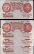 London Coins : A165 : Lot 54 : Ten Shillings Peppiatt B235 Red/Brown First Period issues 1934 (4) a consecutive set of 3 series C37...