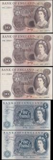 London Coins : A165 : Lot 551 : Bank of England Page (5) EF to UNC comprising Five Pounds QE2 & seated Britannia (2) including F...