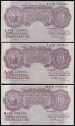 London Coins : A165 : Lot 61 : Peppiatt 10 Shillings B251 (3) mauve emergency issue 1940, series L22D 328481, L77D 795881 & M96...