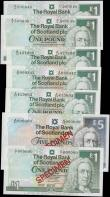 London Coins : A165 : Lot 820 : Scotland The Royal Bank of Scotland plc signature Maiden issues (7) comprising SPECIMEN notes (2) in...