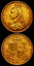 London Coins : A166 : Lot 1713 : Half Sovereigns (2) 1892 No J.E.B on truncation, Low Shield S.3869D, DISH L516 Fine/Good Fine with a...