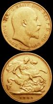 London Coins : A166 : Lot 1714 : Half Sovereigns (2) 1902 Marsh 505 Fine, 1906 Marsh 509 Good Fine, in a London Mint Office box (the ...