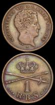 London Coins : A166 : Lot 2719 : Denmark Rigsbankskilling (2) 1842 FK/VS KM#726.2 Good Fine, toned, 1853 FK/VS KM#756 About EF and ni...