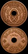 London Coins : A166 : Lot 2725 : Faroe Islands (2) 5 Ore 1941 KM#3 EF, 2 Ore 1941 KM#2 UNC and nicely toned