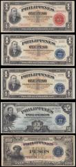 London Coins : A166 : Lot 374 : Philippines (5) comprising Treasury Certificate 1 Peso Pick 89a series of 1941 serial number E382003...