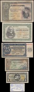 London Coins : A166 : Lot 423 : Spain (6) in mixed grades comprising 500 Pesetas Pick 124a dated 21st October 1940 serial number 044...