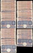 London Coins : A166 : Lot 47 : One Pounds Peppiatt World War II Emergency issues B249 Blue/Pink issues 1940 (61) in mixed grades av...
