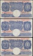 London Coins : A167 : Lot 1333 : One Pounds Peppiatt World War II Emergency B249 Pink/Blue issues 1940 (3) serial numbers N38E 037235...
