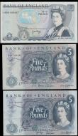 London Coins : A167 : Lot 1375 : Five Pounds Fforde & Page (3) comprising Fforde QE2 portrait & seated Britannia B314 issue 1...