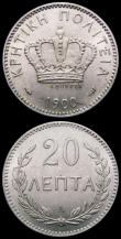 London Coins : A167 : Lot 1910 : Crete (2) 20 Lepta 1900A KM#5 UNC and lustrous, and rare in this high grade, 2 Lepta 1900A KM#2 A/UN...
