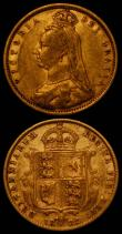 London Coins : A167 : Lot 706 : Half Sovereign 1892 No J.E.B. on truncation, Low Shield reverse, S.3869D, DISH L516 Fine, along with...