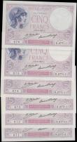 London Coins : A168 : Lot 165 : France Banque de France 5 Francs Pick 72d (Fayette F3.11) dated 21st April 1927 signatures Platte &a...