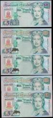 London Coins : A168 : Lot 190 : Gibraltar Government 5 Pounds H.M. Queen Elizabeth II 1995-2000 issues (5) all about UNC - UNC compr...