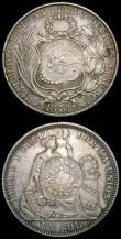London Coins : A168 : Lot 895 : World Countermarked issues (2) Guatemala Peso 1894 host coin 1879 Y.J KM#224 Countermark F, host coi...