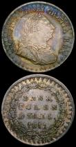 London Coins : A169 : Lot 1973 : Three Shilling Bank Token 1811 Bust type 26 Acorns ESC 408, Bull 2065 GVF toned, the reverse with so...