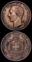 London Coins : A170 : Lot 1036 : Greece (2) 50 Lepta 1874A KM#37 GEF/AU and lustrous, One Drachma 1873A About VF/VF toned and a darke...