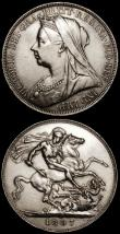 London Coins : A170 : Lot 1444 : Crowns (2) 1897 LX ESC 312, Bull 2602 Near EF, 1897 LXI ESC 313, Bull 2603 both NEF with some contac...