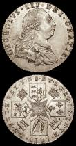 London Coins : A170 : Lot 2121 : Sixpences (2) 1723 SSC Large Lettering on both sides, the obverse with S over sideways S in GEORGIVS...