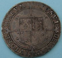 London Coins : A124 : Lot 1871 : Halfcrown Elizabeth I, 7th issue, mint mark 1. S.2583. Very fine, well struck on an even...