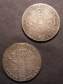 London Coins : A129 : Lot 1261 : Crowns (2) 1662 Rose Below edge undated ESC 15A Fine with a mount skilfully removed from the edge...