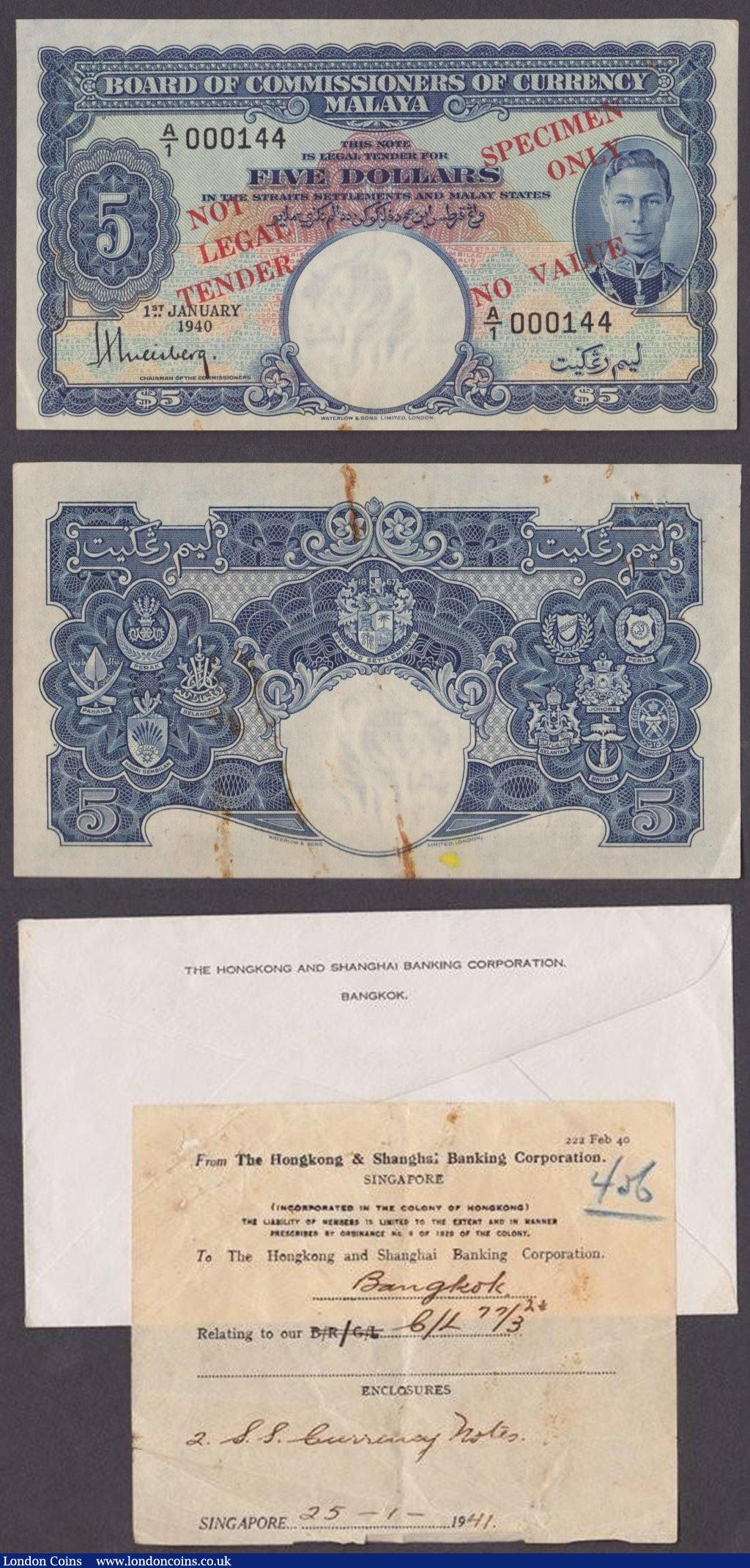Malaya Board of Commissioners of Currency 1940 issues KGVI portrait, $1 in green, low serial A/1 000128 and $5 in blue, low serial A/1 000144, overprinted