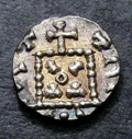 London Coins : A133 : Lot 109 : Anglo-Saxon Primary Ar Sceat.  C, 680-710.  Series A.  Obv; Radiate bust r, TIC before. ...