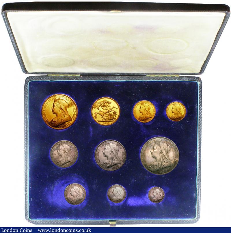 Proof Set 1893 Long Set Gold £5 - Threepence (10 coins) in a black contemporary box nFDC-FDC the gold brilliant with some hairlines, the silver with a matching tone, we understand 1893 sets have been realising up to £12,000 recently in other London sale rooms : English Cased : Auction 138 : Lot 925