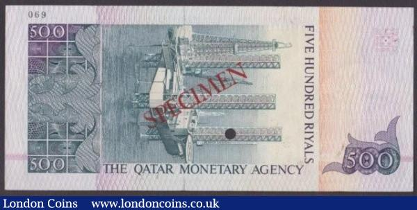 Qatar Monetary Agency 500 riyals issued 1980s, Specimen No.069, series A/1 000000, SPECIMEN ovpt. & 1 punch-hole, Pick12s, small mark bottom left & slight ink run, about UNC to UNC and very scarce : World Banknotes : Auction 140 : Lot 651