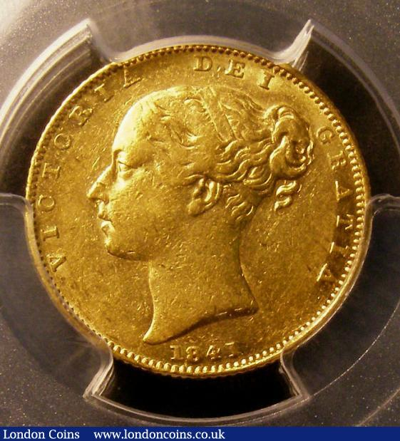 Sovereign 1841 as Marsh 24, slabbed by PCGS as GRΛTIΛ variety and graded AU53, however close inspection shows a faint bar to the first A with no trace of a bar on the second A so a new variety with one unbarred A, all 1841 Sovereigns are extremely rare in this high grade, so this piece exceptionally rare as a new variety, the reverse sharp and brilliant EF the obverse near so : Certified Coins : Auction 142 : Lot 640