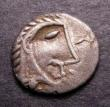 London Coins : A144 : Lot 1086 : Unit Ar. Iceni. 'Boudicca head type'. C,61 AD. Obv; Celticized head right. Rev: Horse righ...