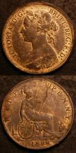 London Coins : A144 : Lot 1746 : Halfpennies (2) 1888 Freeman 359 dies 17+S EF with traces of lustre, 1889 Freeman 360 Dies 17+S UNC ...