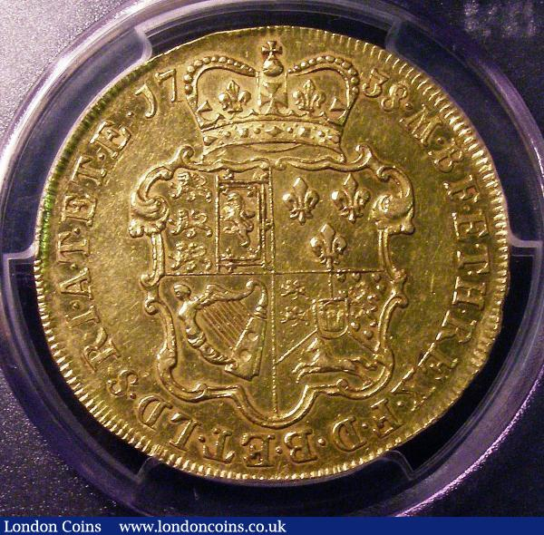 Five Guineas 1738 DVODECIMO George II Young Laureate Head reverse with revised shield S3663A in a PCGS holder and graded AU50 by them, the only example thus far recorded by PCGS on their Population Report : English Coins : Auction 147 : Lot 2291