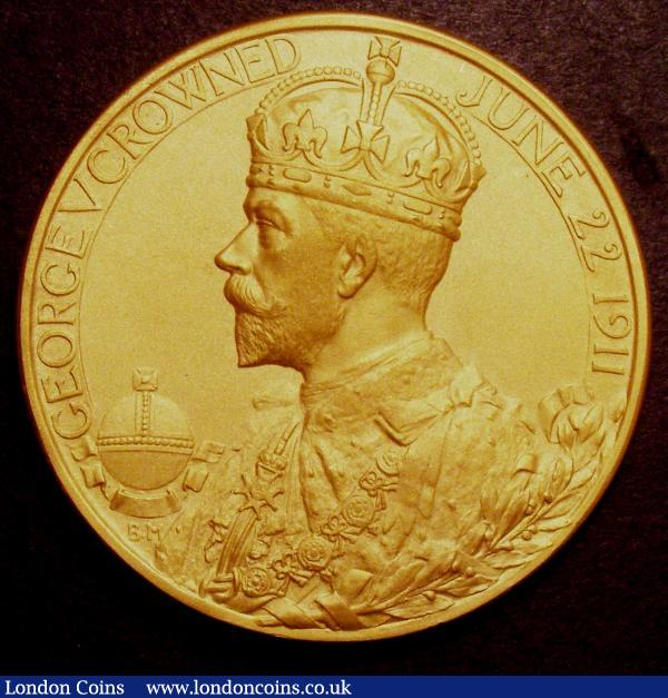 Coronation of George V 1911 51mm diameter in gold Eimer 1922a by B.Mackennal, The Official Royal Mint issue matt finish UNC and superb in the original red box of issue, we note an example similar to this without the box recently realised $6500 hammer price (£4310 at the time of writing) in a US auction : Medals : Auction 148 : Lot 1020