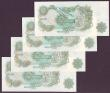 London Coins : A149 : Lot 149 : One Pound Page B322 (4) issued 1970, fun numbers, series HU77 000111, HU71 000111, HU71 000222 &...