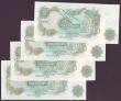 London Coins : A149 : Lot 150 : One Pound Page B322 (4) issued 1970, low numbers, series HU72 000009, HU72 000011, HU72 000012 &...