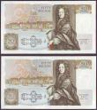 London Coins : A149 : Lot 173 : Fifty pounds Somerset B352 (2) issued 1981, a consecutively numbered pair first series A01 030789 &a...