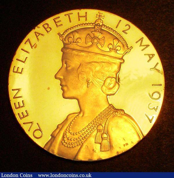 Coronation of George VI 1937 57mm diameter in gold Eimer 2046a by P.Metcalfe, The official Royal Mint issue, Lustrous UNC with some hairlines, retaining considerable original mint brilliance in the original red box of issue : Medals : Auction 149 : Lot 881