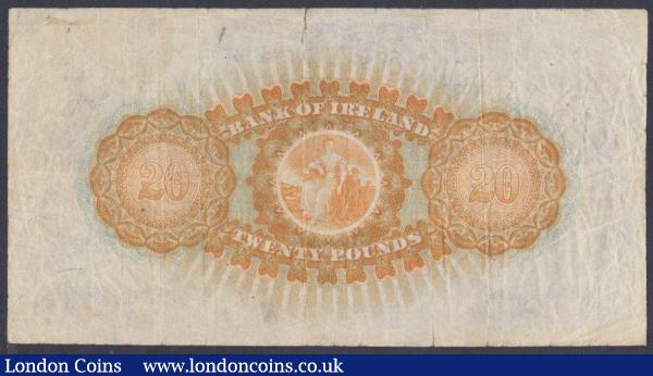 Northern Ireland, Bank of Ireland £20 dated 9th May 1929, series X/10 002077, Pick54 (Blake & Callaway BA 103--probably only 2500 notes ever issued), crayoned numbers & tears into design, Fine and very scarce : World Banknotes : Auction 151 : Lot 435